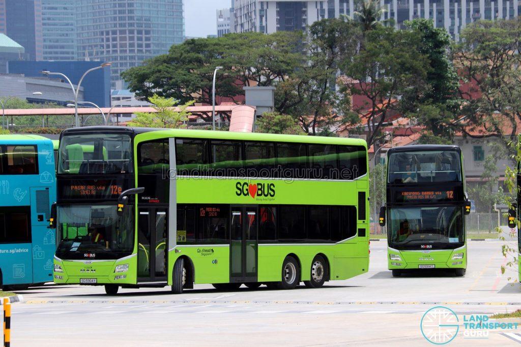 Service 12e & Service 12 MAN A95 at Kampong Bahru Bus Terminal