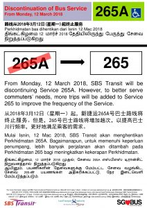 Discontinuation of Bus Service 265A