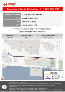 SMRT Buses Income Eco Run 2018 Route Diversion Poster