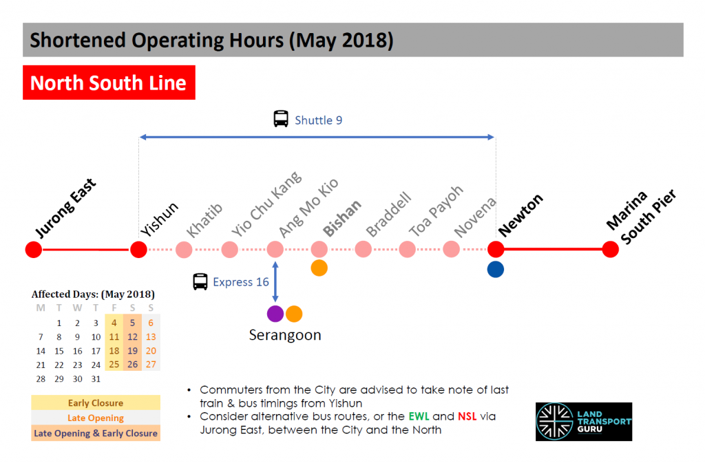 NSL Shortened Operating Hours (May 2018)