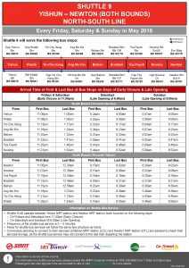 Shuttle 9 (Yishun – Newton) Departure Timings from Stations (Poster updated on 3 May)
