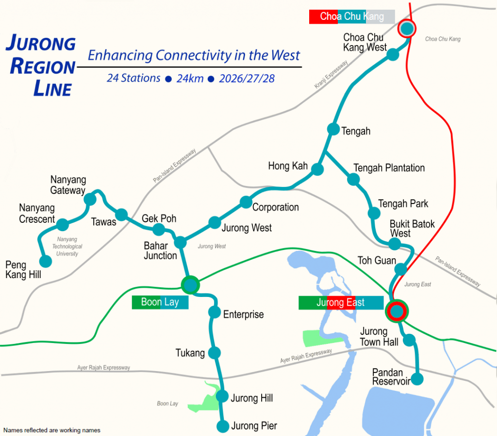 Jurong Region Line - Station Alignment Map