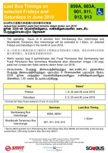 SMRT Buses Poster for Extension of Last Bus Timings during NSL Early Closure in June 2018