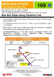 New Bus Stop for Service 169 along Canberra Link (Updated Poster)