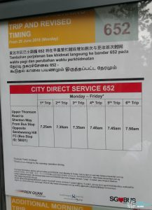 Additional Morning Trip & Revised Timing for City Direct 652 Poster