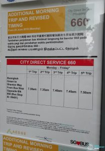 Additional Morning Trip & Revised Timing for City Direct 660 Poster