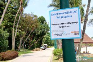 AV Testing Sign at Sentosa (Tanjong Beach Walk)
