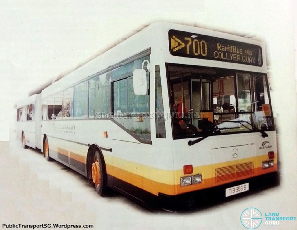 SMRT Mercedes-Benz O405G Hispano MkI (TIB895S) - Rapidbus Service 700. Retrieved from an old SMRT publication.