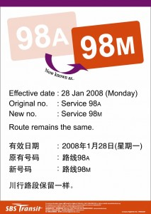 SBS Transit Poster for Renumbering of 98A to 98M