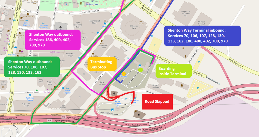 Shenton Way Terminal: Route amendments