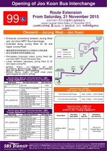 Service 99 Route Extension Poster to Joo Koon