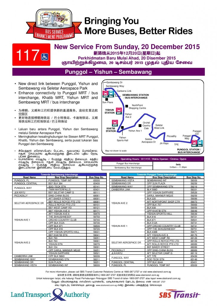 LTA Press Release - Route Launch Poster for Bus Service 117