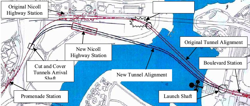 Nicoll Highway: Diagram of new station and tunnel alignment