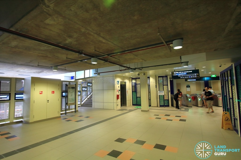 Bukit Panjang LRT Station - Mezzanine Level, with lifts and staircases to platforms above
