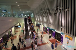 Little India MRT Station - Overhead view of DTL platform from concourse level