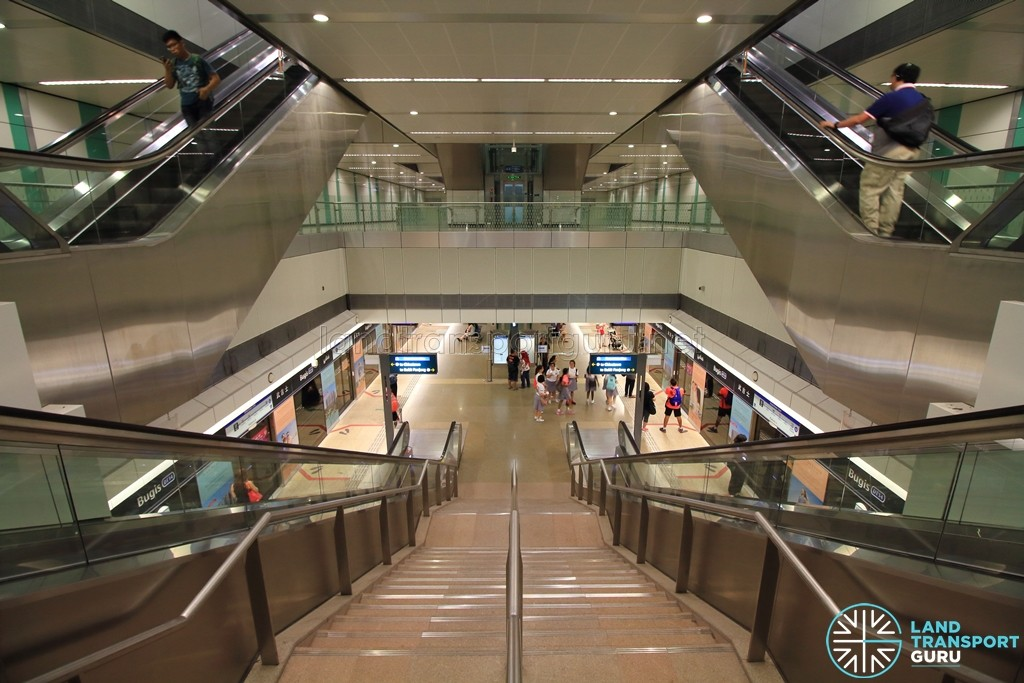 Bugis MRT Station - B3 transfer linkway leading to DTL station, with platforms below and ticket concourse above