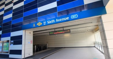Sixth Avenue MRT Station - Exit A - Escalators to concourse