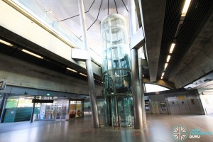 Expo MRT Station - Lift to Platform within ticket concourse, with faregates at Platform level