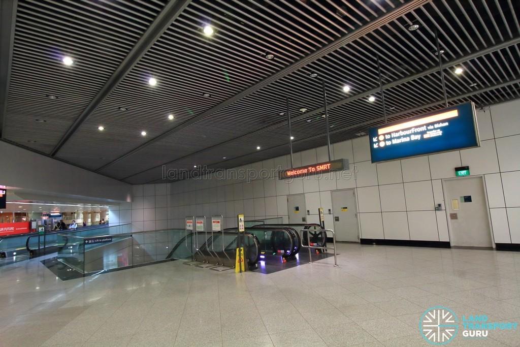 Dhoby Ghaut MRT Station - CCL Transfer Linkway - Escalators leading to CCL platform