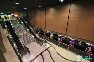 Beauty World MRT Station - Overhead view of platform from concourse level