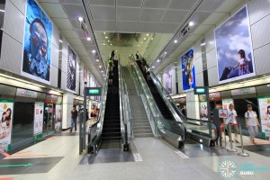 Dhoby Ghaut MRT Station - NEL Platform level escalators