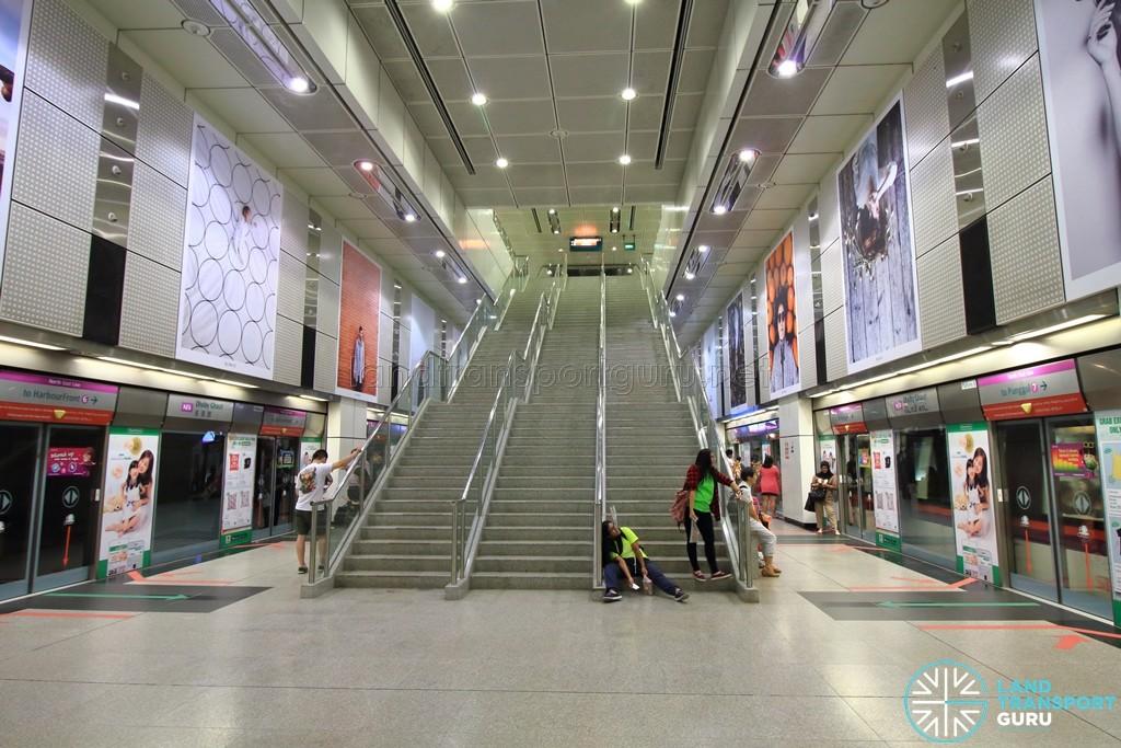 Dhoby Ghaut MRT Station - NEL Platform level stairs