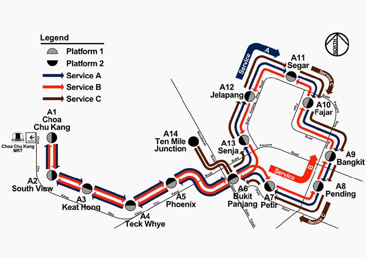 Diagram of LRT services A, B and C. The station codes have since been changed.