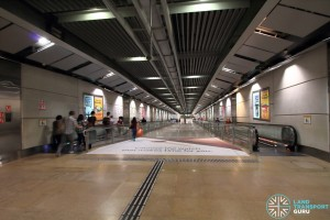 Serangoon MRT Station - Paid link descending to CCL concourse