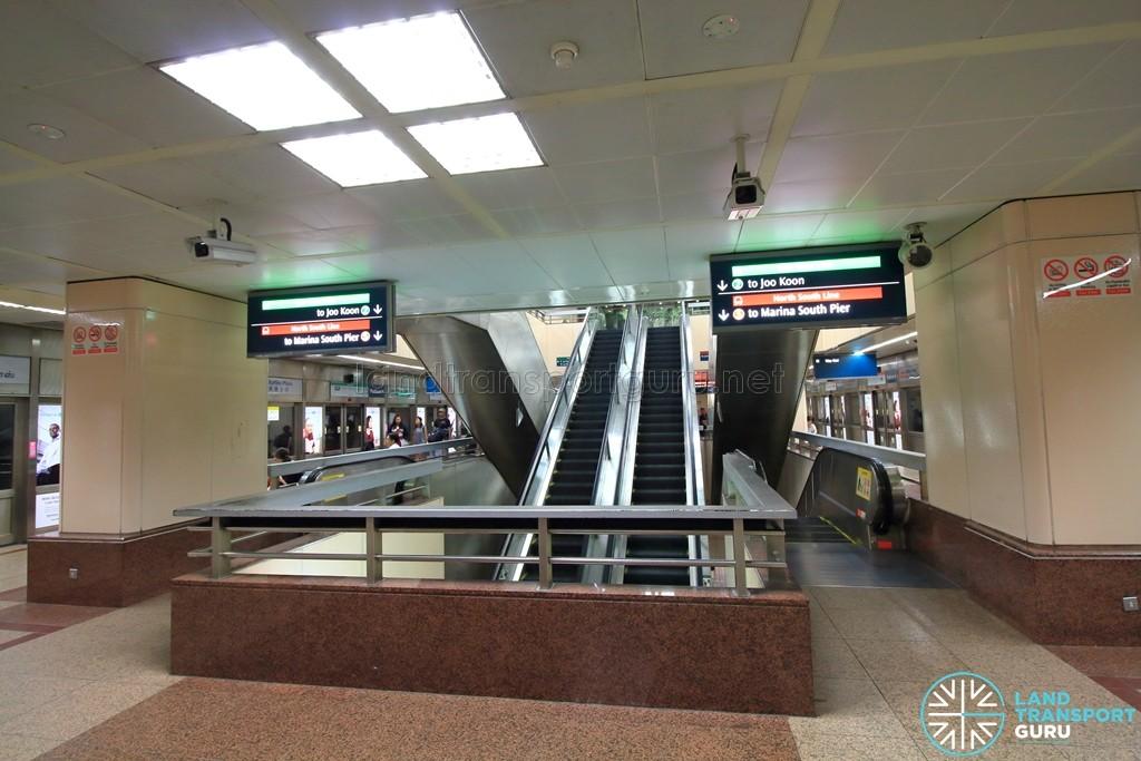 Raffles Place MRT Station - Upper Platform level (B3). Certain escalators lead straight from B2 to B4.