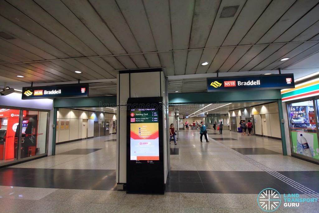 Braddell MRT Station - Ticket concourse (Unpaid area)