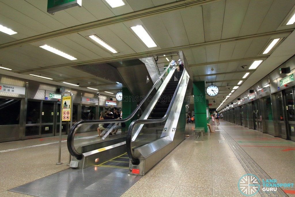 Novena MRT Station - Platform level escalators
