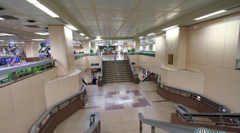 Raffles Place MRT Station - Stairs descending to platforms