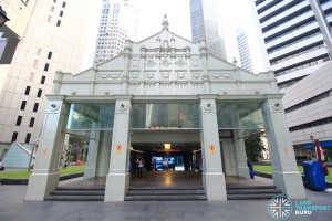 Raffles Place MRT Station - Surface Exit B designed in colonial-inspired architecture