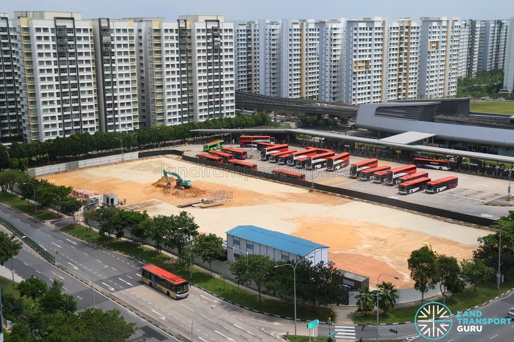 Aerial View of Punggol Bus Interchange Extension Construction (July 2016)
