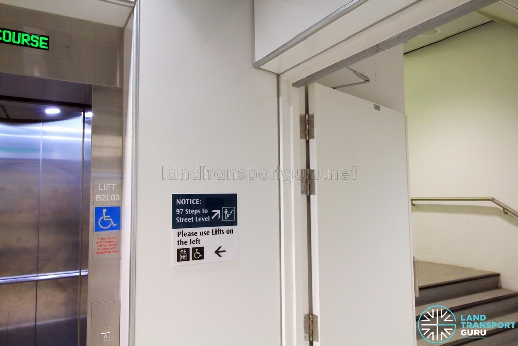 Rochor MRT Station - Lift-only Exit B - Commuter advisory beside staircase
