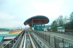 View of Samudera LRT station from a passing LRT train