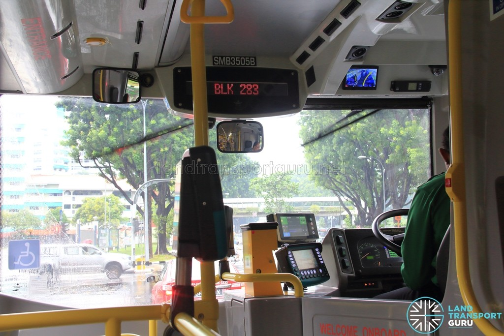 Trapeze Driver Display Unit linked to SMRT's Passenger Information System, which displays bus stop names