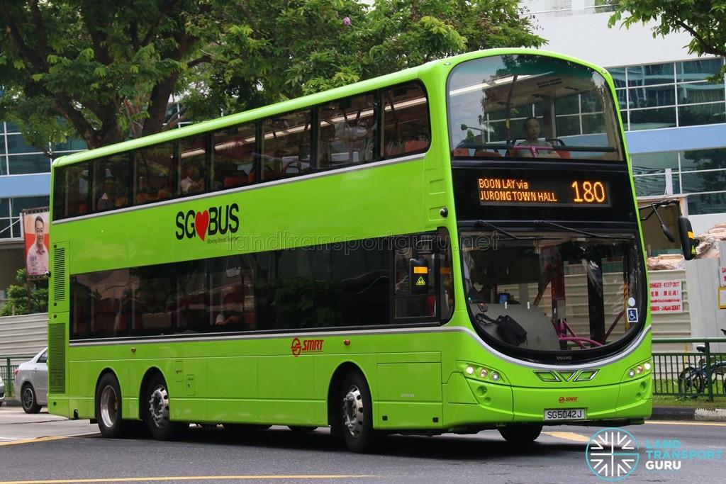 SG5042J on 180 - SMRT Buses Volvo B9TL, Wright Eclipse Gemini II body