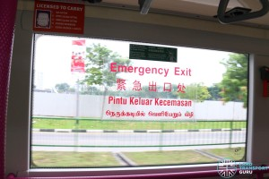 SMRT Buses Volvo B9TL Interior - Emergency Exit Sticker