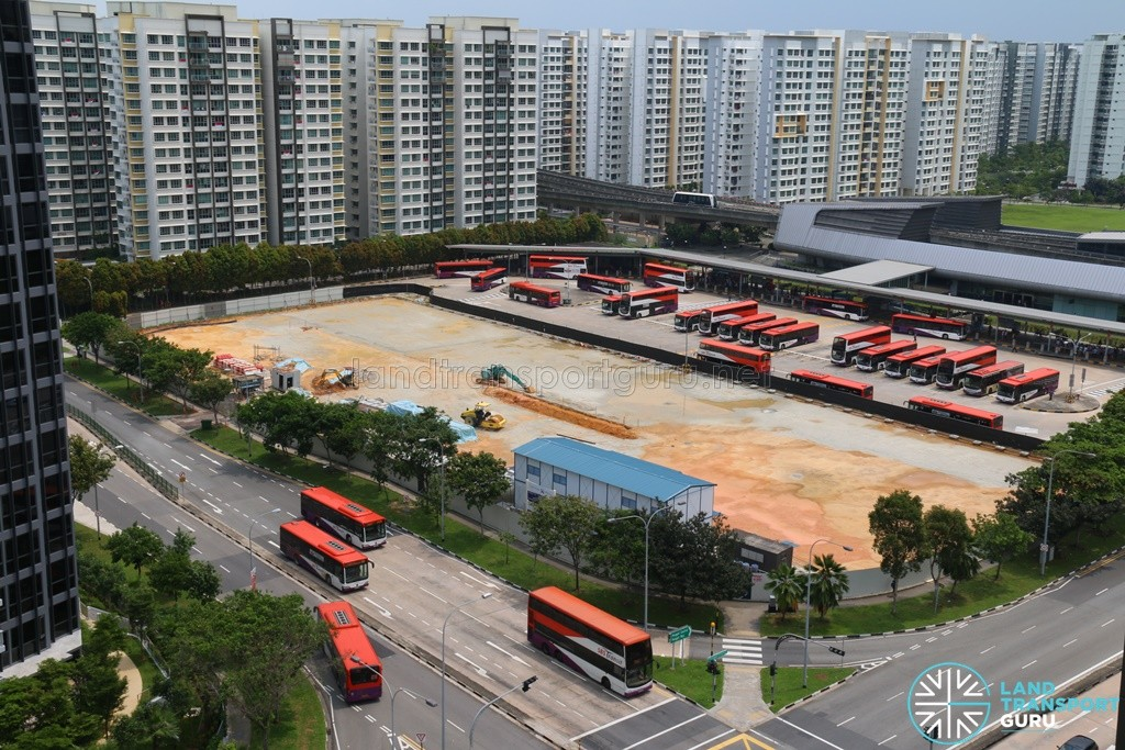 Aerial View of Punggol Bus Interchange Extension Construction (August 2016)