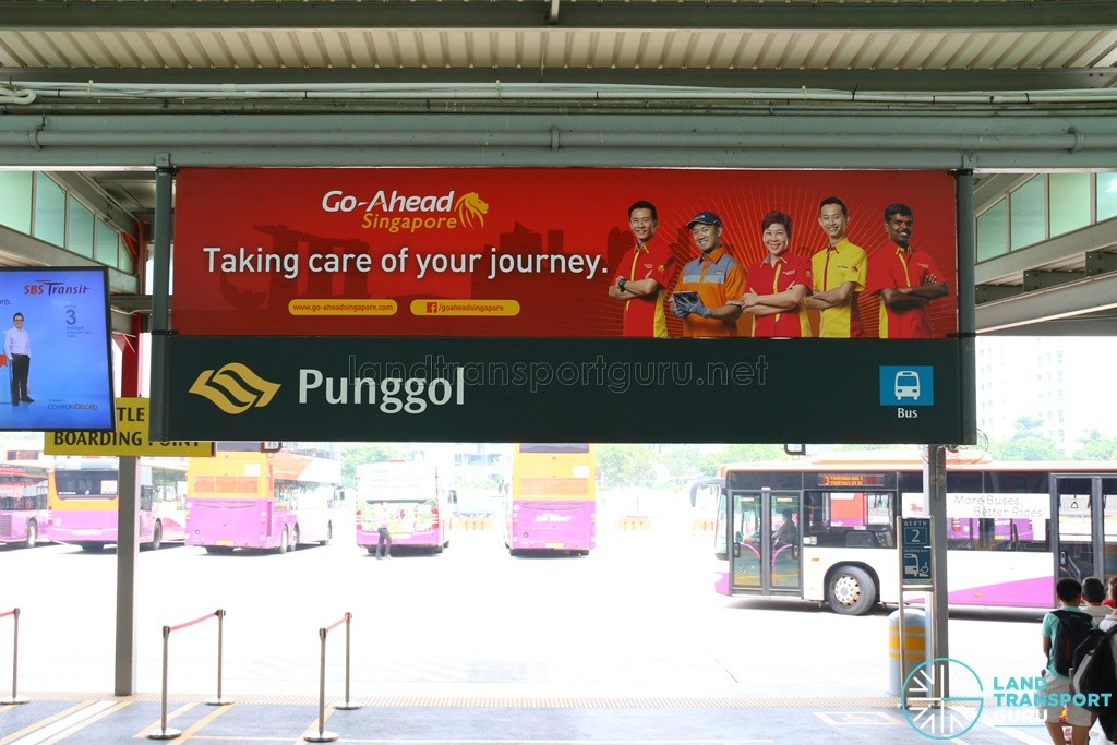 Go-Ahead Singapore Banner at Punggol Temporary Bus Interchange (Aug 2016)
