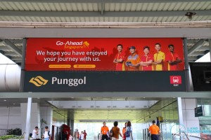Go-Ahead Singapore Banner at Punggol Temporary Bus Interchange (Aug 2016)