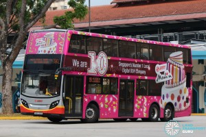 Alexander Dennis Enviro500 (SMB5003U) - Service 190 with an advertisement wrap for SMRT Media