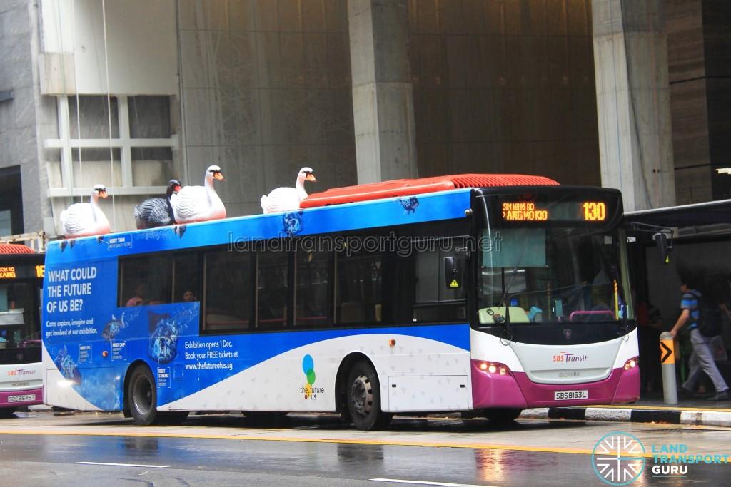 SBS Transit Scania K230UB (SBS8163L) - Service 130, featuring 3D advertising