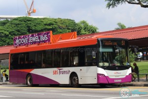"SBS Transit Scania K230UB (SBS8629K) - Service 51, featuring the ""Moove Jewel Bus"" advertising concept (LED-backlit 2D advertising boards)"