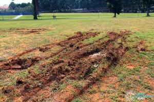 Bendy bus stuck in field: Leftover tracks in the soil