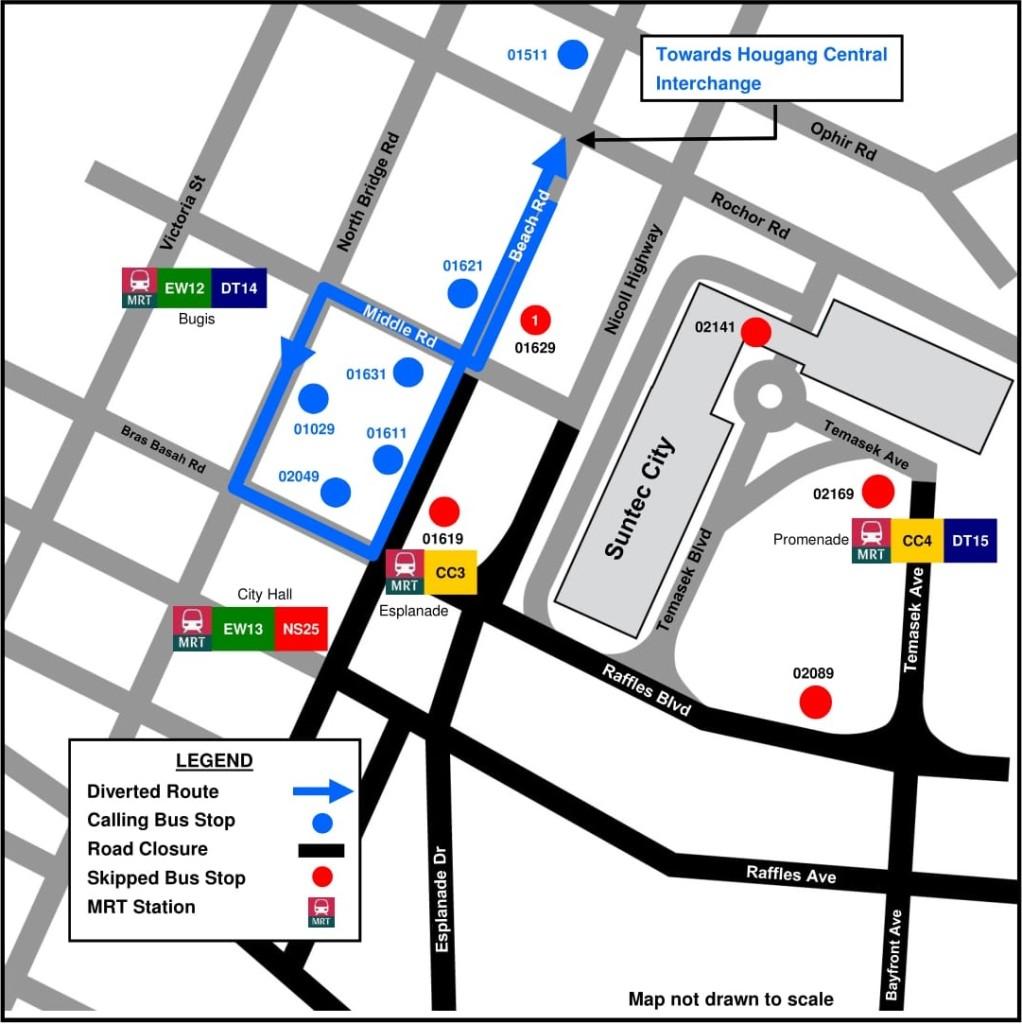 Formula 1 Diversions - Service 107M diversion map