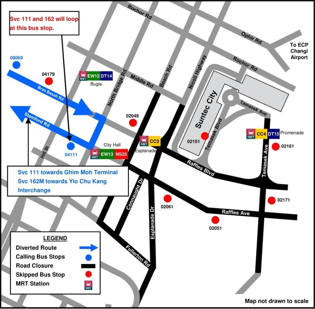 Formula 1 Diversions - Service 111, 162 diversion map
