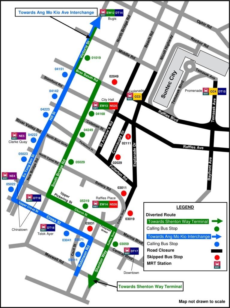 Formula 1 Diversions - Service 130 diversion map
