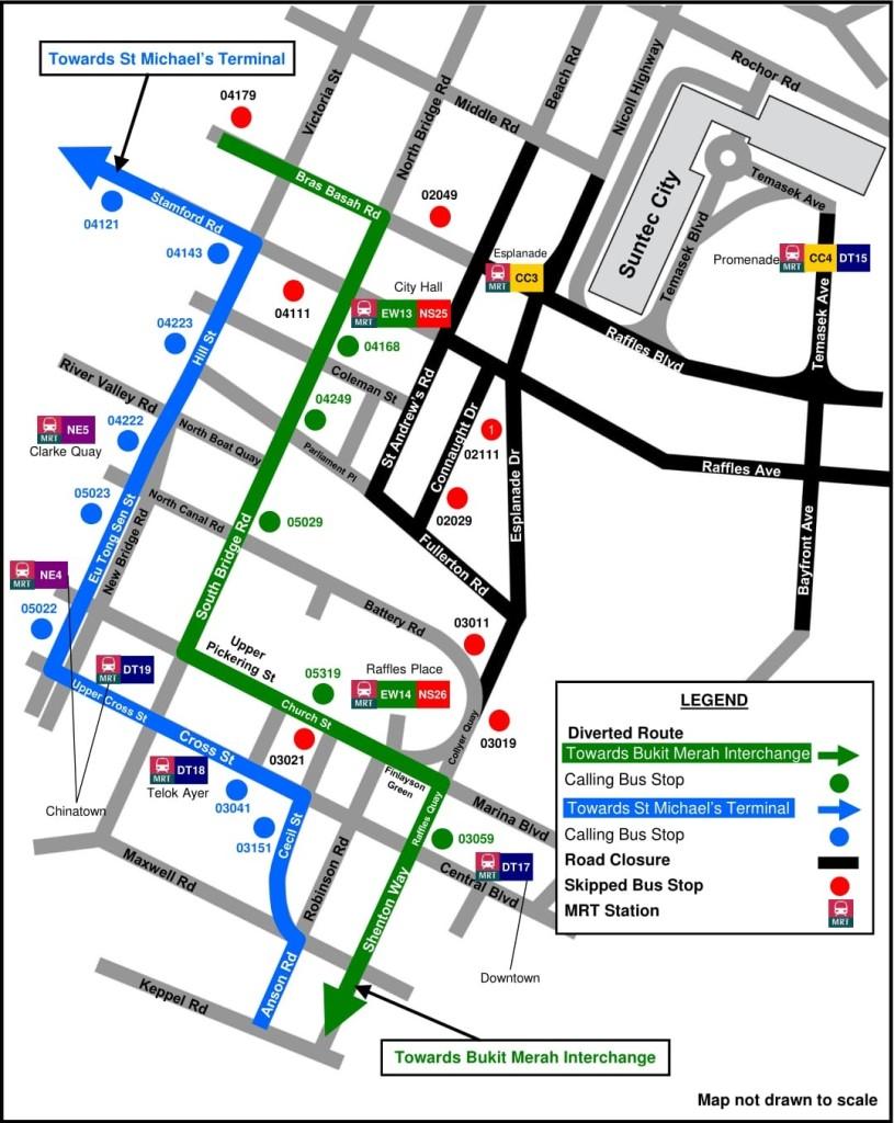 Formula 1 Diversions - Service 131 diversion map